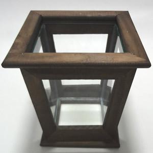 cachepot madeira e vidro